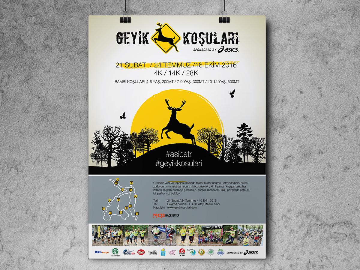 Asics Geyik Koşuları Poster